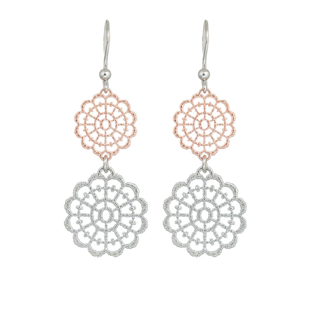 Стильные, серебряные серьги частично покрытые розовой позолотой • Fidelis