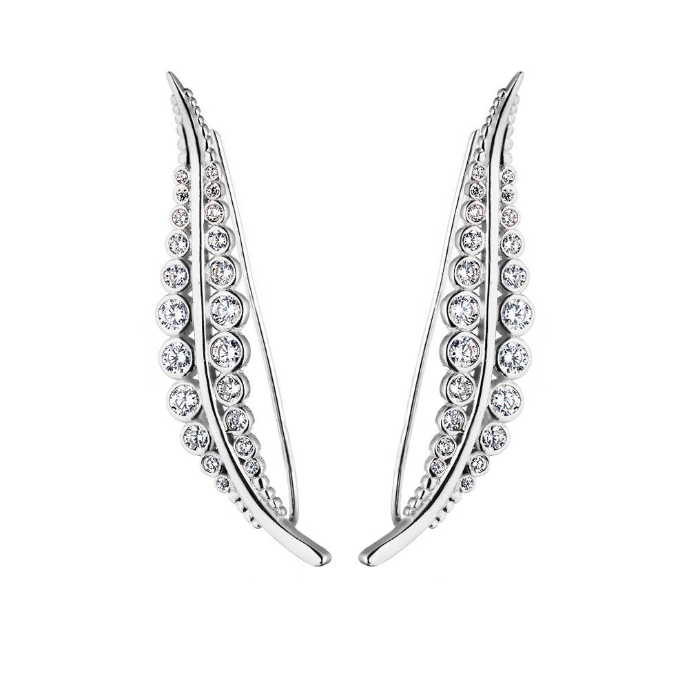 Серебряные серьги – кафы с фианитами «Пробуждение природы» • Fidelis