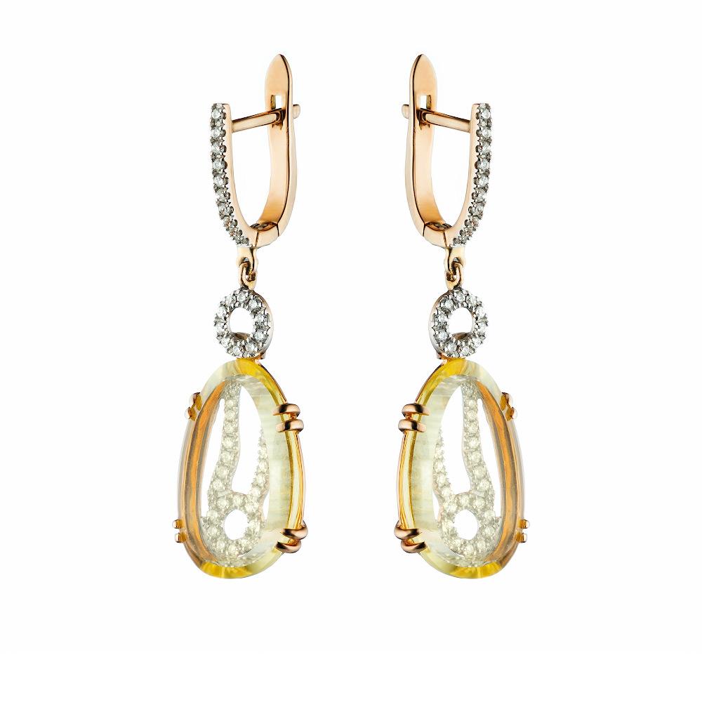 Длинные серьги из розового золота с бриллиантами 0,3Ct и гидро аметистом • Fidelis