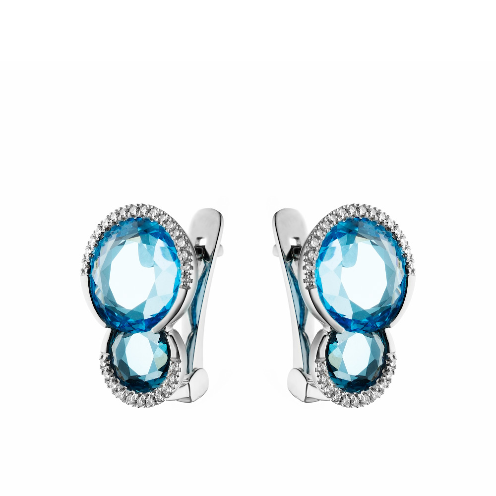 Бриллиантовое серьги из белого золота с камнем двух цветов, голубым топазом,лондон топазом круглой формы • Fidelis