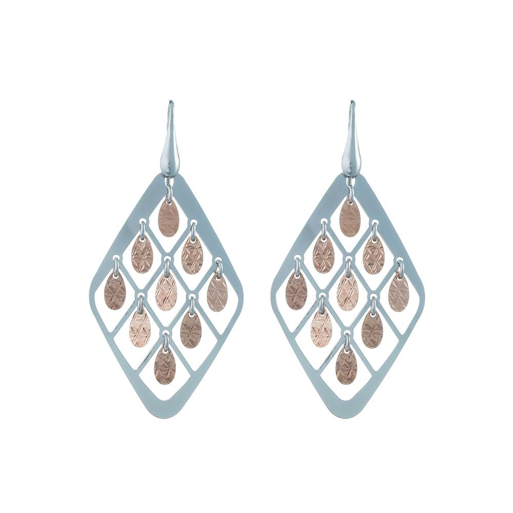 Ромбоидные серебряные серьги с множеством подвесных элементов • Fidelis
