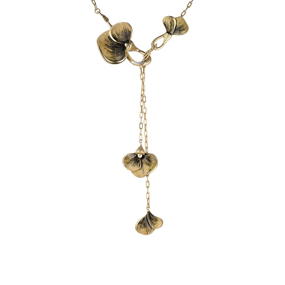 Колье Graziella модель Flora, из золота, с цветами покрытыми графитовой эмалью • Graziella