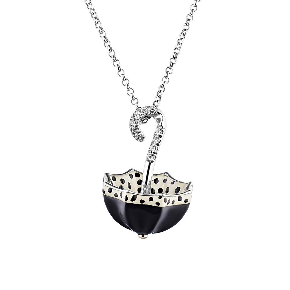 Колье из белого золота 750 пробы, в виде раскрытого зонта с бриллиантами и эмалью • Fidelis