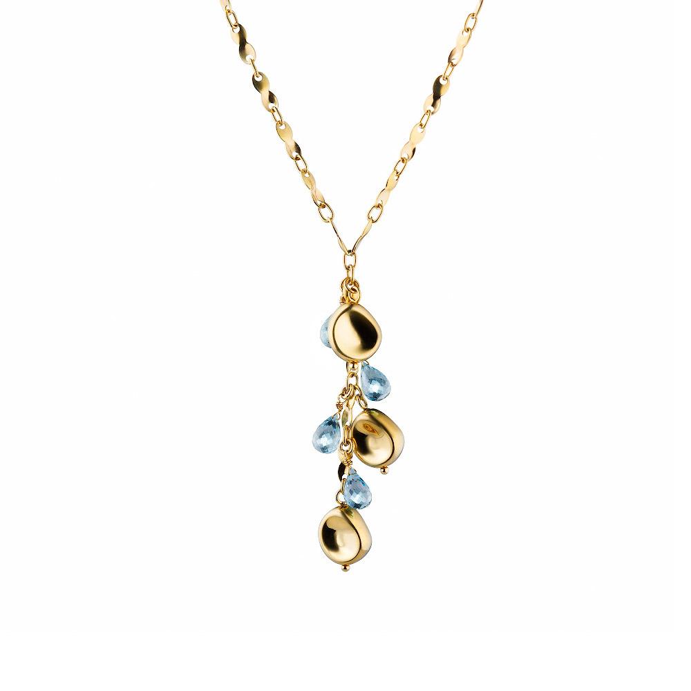Колье из желтого золота 585 с топазами в виде капли, длинна 40-45, подвесной элемент 6,5 см • Fidelis