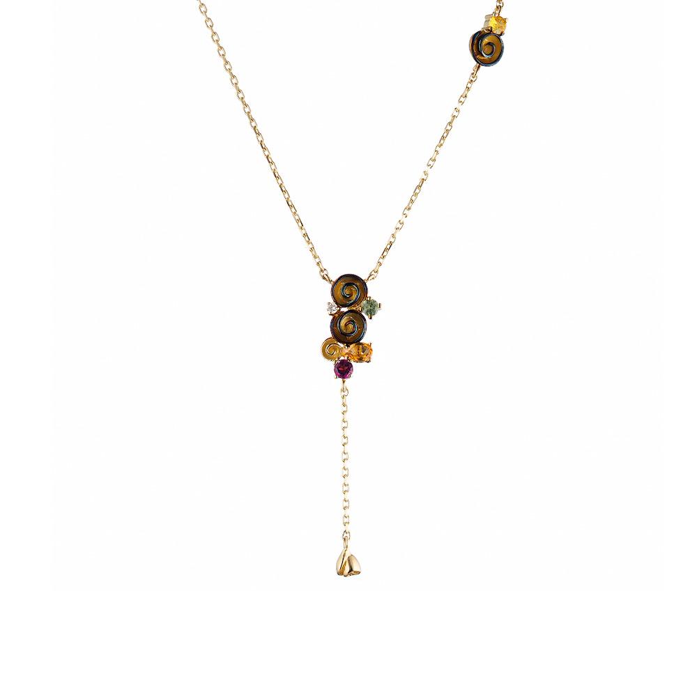 Золотое колье от Roberto Bravo, с бриллиантом, сапфиром, цитрином, родолитом и кварцем • Roberto bravo