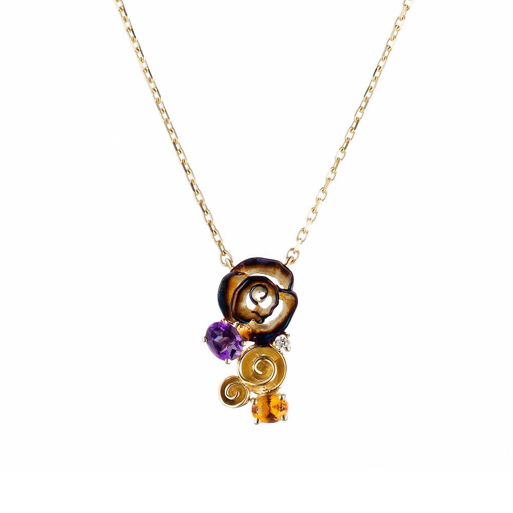Оригинальное колье с розами от Roberto Bravo из желтого золота, с бриллиантом, аметистом и цитрином • Roberto bravo