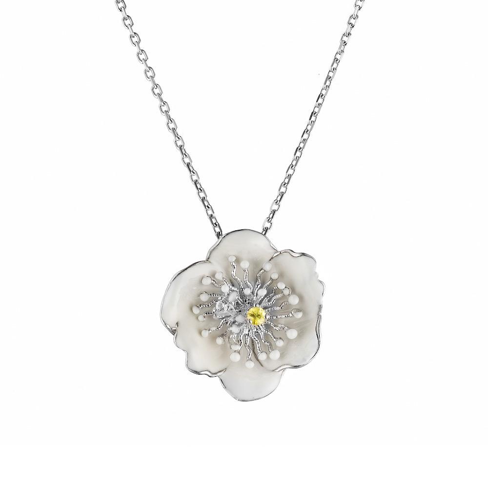 Колье Roberto Bravo «Цветок кувшинки», из серебра с эмалью и сапфиром 0,03 ct • Roberto bravo