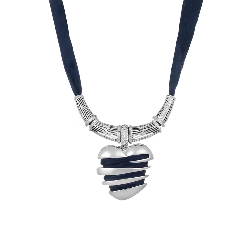 Колье из родированного серебра, с шелком, от Graziella, модель Sentimenti14 • Graziella