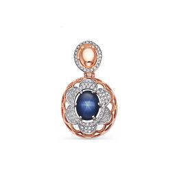5024c8b17f05 Авторская серебряная подвеска со звездчатым сапфиром и кристаллами Swarovski