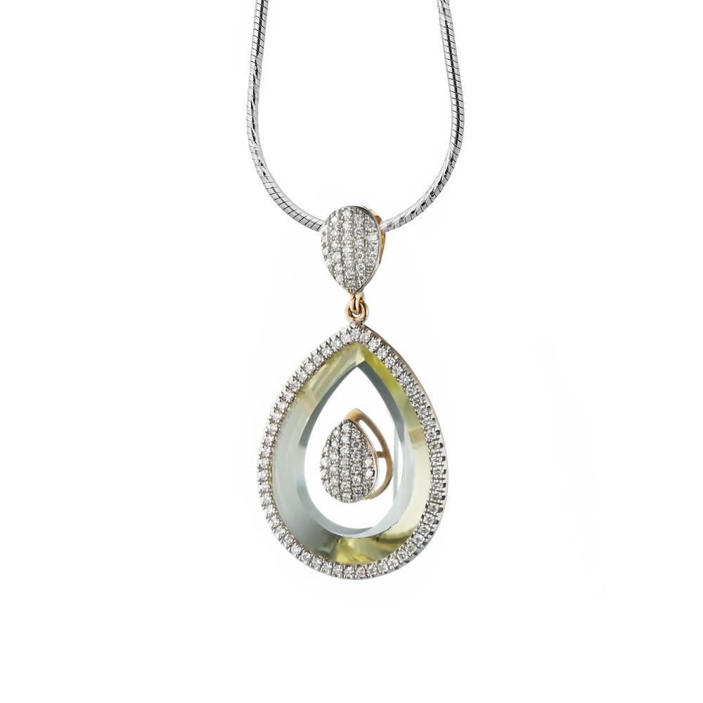 Подвеска из розового золота в виде капли вставка бриллианты и лимонный кварц • Fidelis