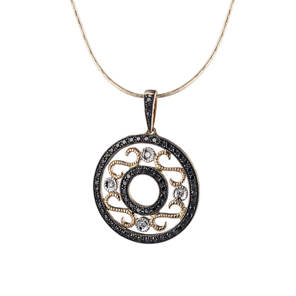 Круглая золотая подвеска, с черными и белыми бриллиантами • Fidelis