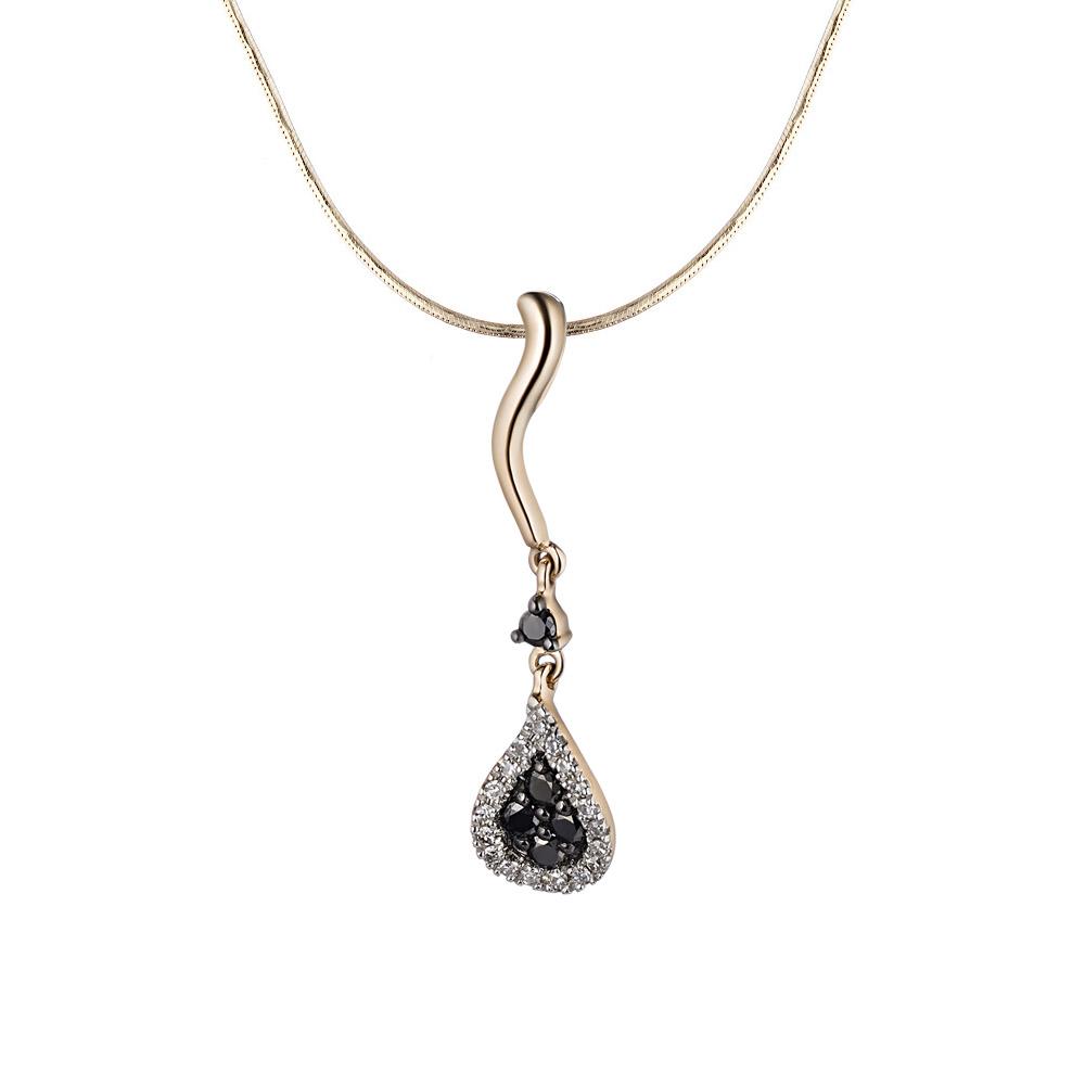Соблазнительная золотая подвеска с черно-белыми бриллиантами • Fidelis