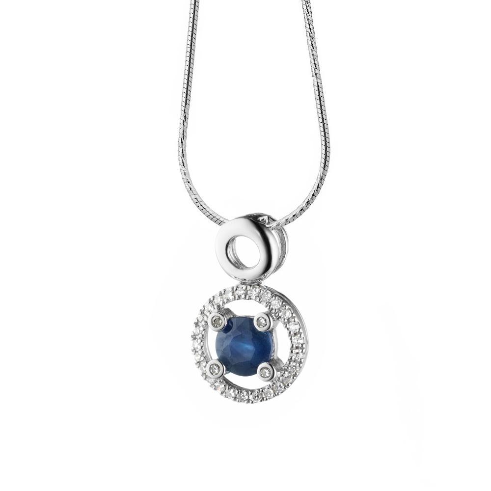 Круглая подвеска с сапфиром и бриллиантами из белого золота • Fidelis