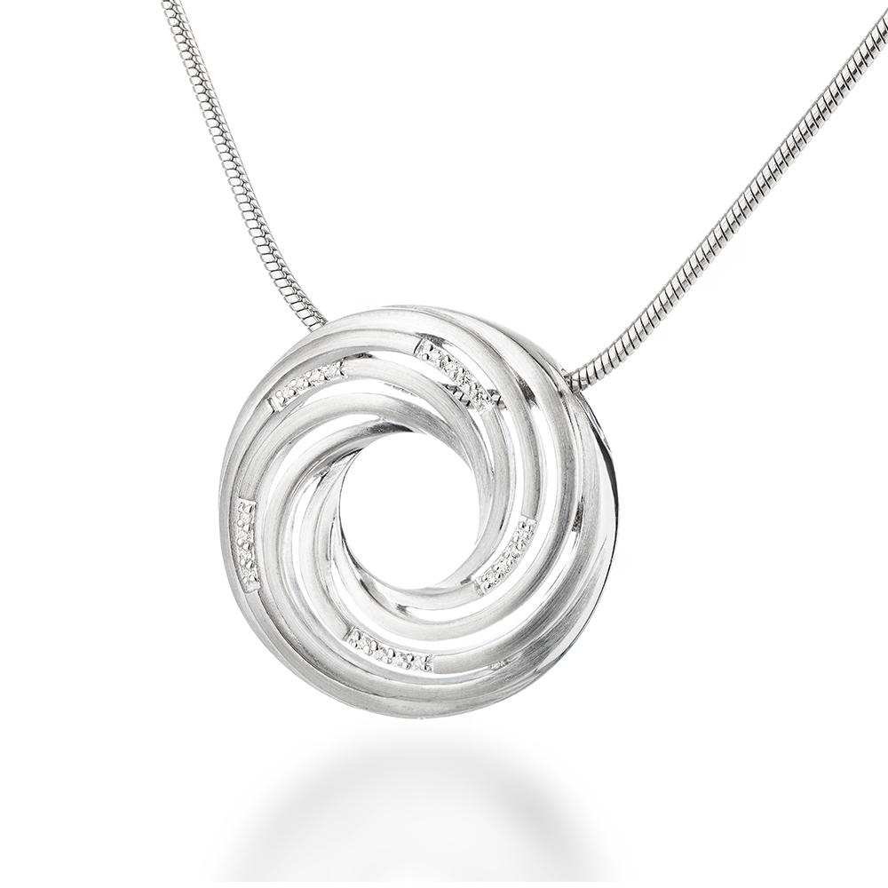 Подвеска Breuning из матового родированного серебра с 20 бриллиантами • Breuning