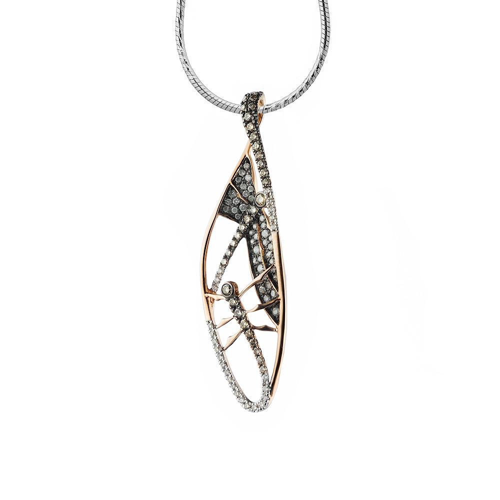 Крупная подвеска вытянутой формы, с бриллиантами 0,084Ct, из розового золота 585 пробы • Fidelis