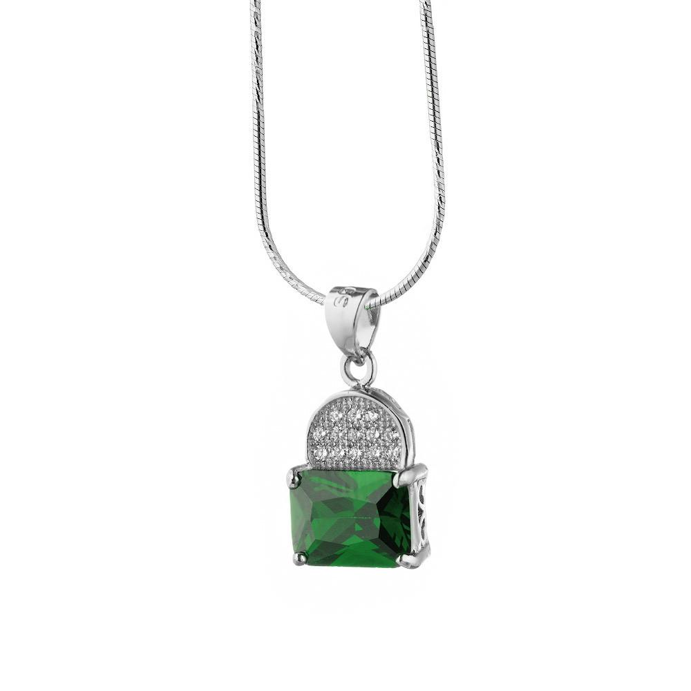 Яркая серебряная подвеска с крупным зеленым фианитом и россыпью мелких • Fidelis