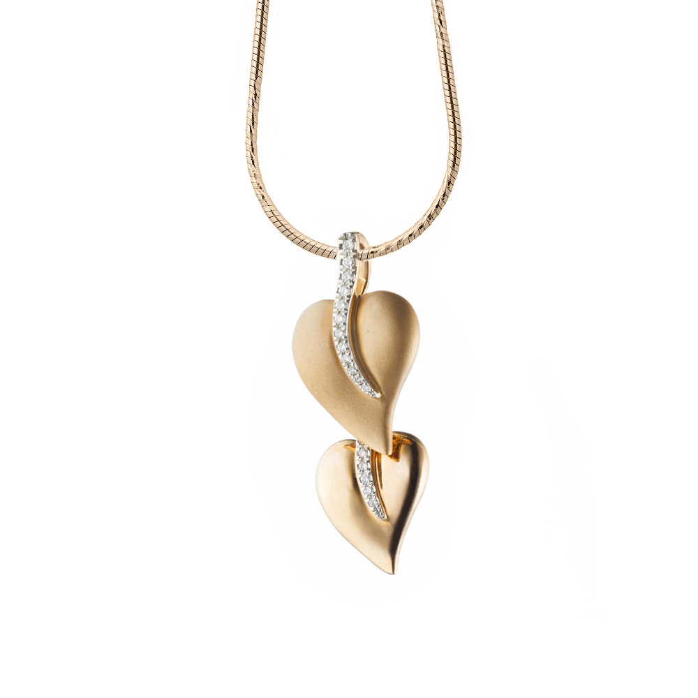 Золотая подвеска два листика из розового золота с бриллиантами • Fidelis