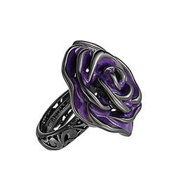 5870b11ba1e4 Серебряное кольцо Rosa12-Violet Graziella с эмалью и рутенированием