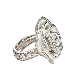 39a22bb60663 Серебряное кольцо Rosa12-White с эмалью и родированием от бренда Graziella