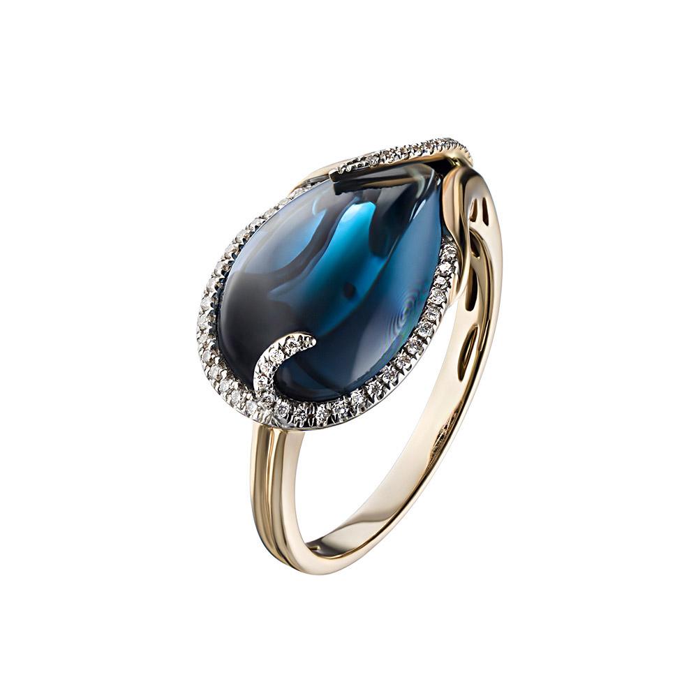 Золотое кольцо в форме листа из лондон топаза украшенного бриллиантами • Fidelis