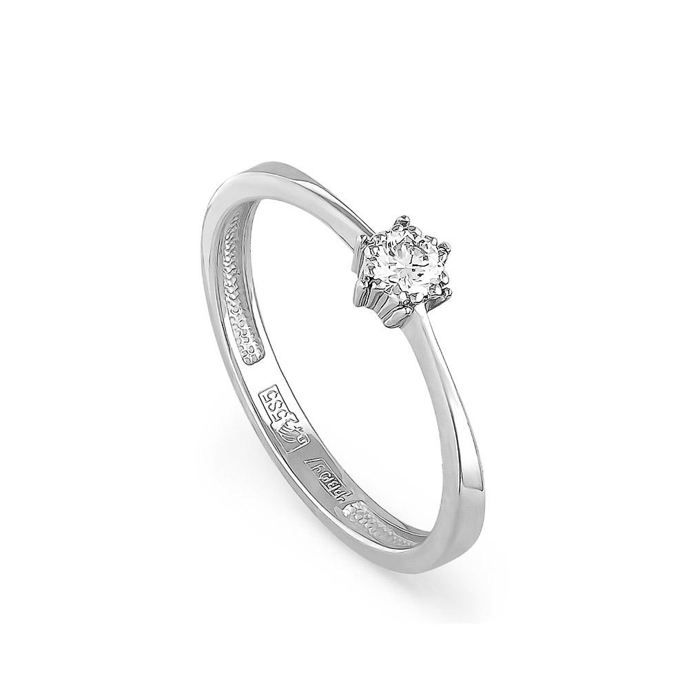 Помолвочное кольцо из белого золота с бриллиантом 0,09 карат за 19 ... ca14a93989a