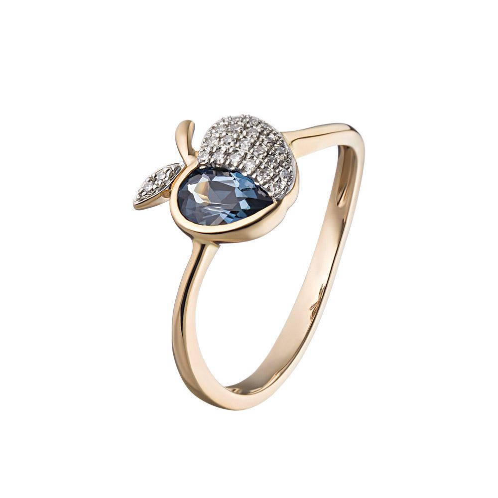 Золотое кольцо в форме яблочка, с бриллиантами и топазом • Fidelis