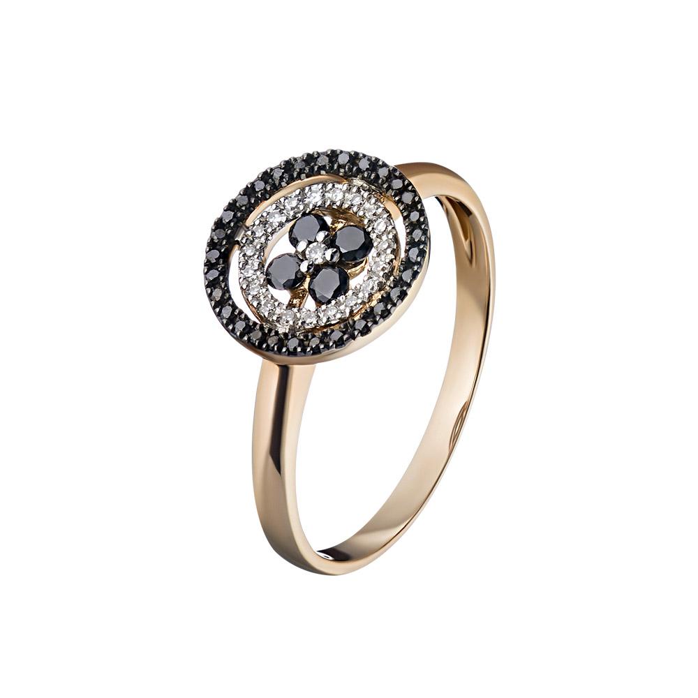 """Кольцо золотое """" День и Ночь """" с черными и белыми бриллиантами 0,05 ct • Fidelis"""