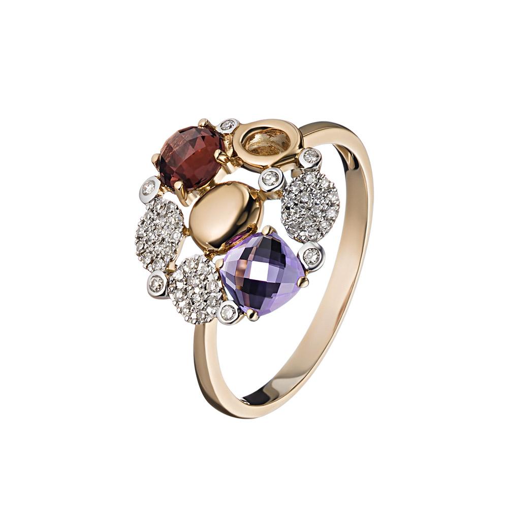 Кольцо цветная фантазия, из розового золота 585 • Fidelis