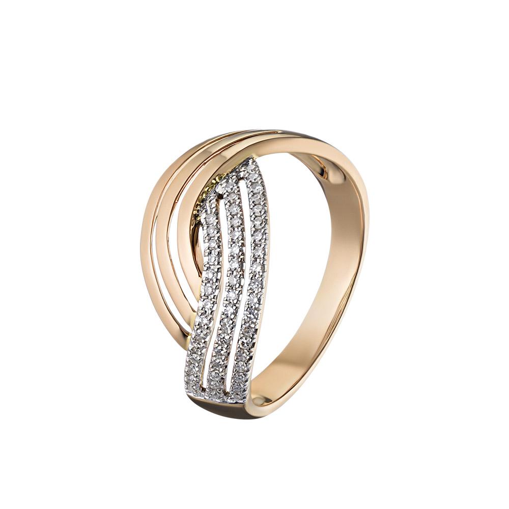 Кольцо из розового золота, в виде трех соединяющихся линий, украшено бриллиантами • Fidelis