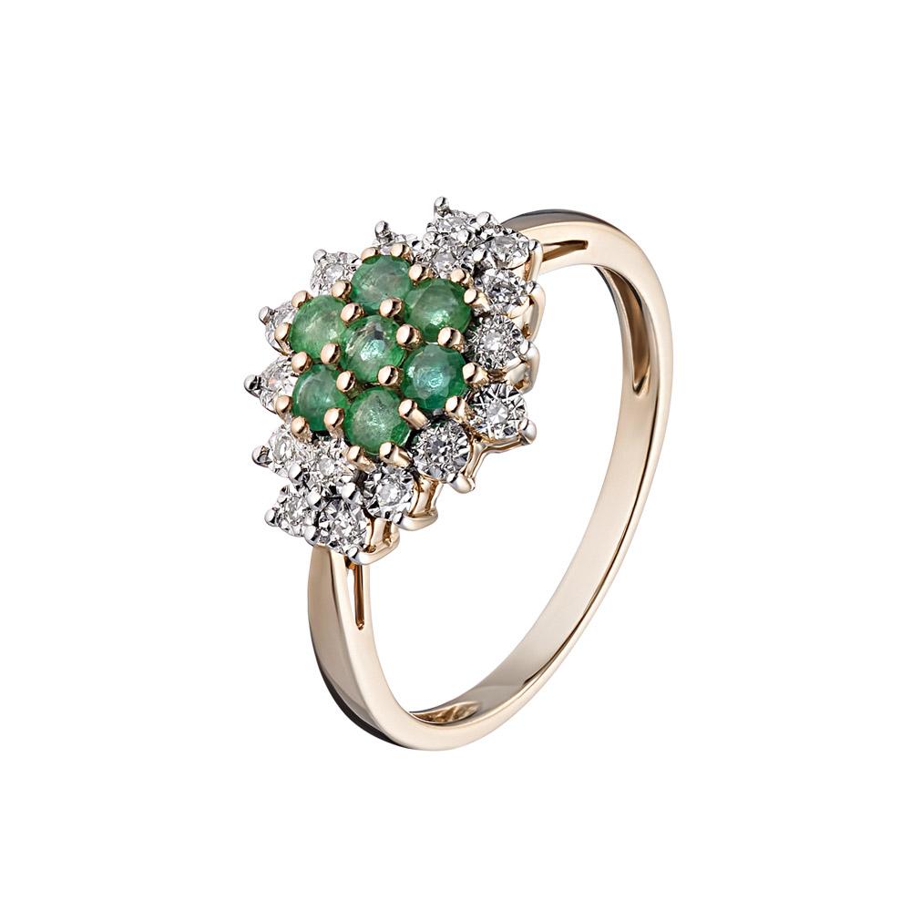 Изящное золотое кольцо 585 пробы, с бриллиантами и изумрудами • Fidelis