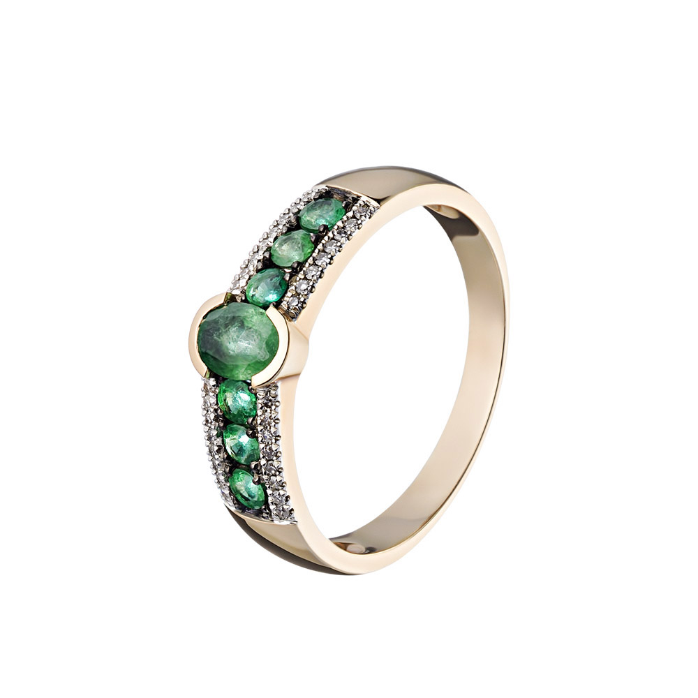 Кольцо из розового золота с дорожкой из семи изумрудов, по краям бриллиантовые дорожки • Fidelis