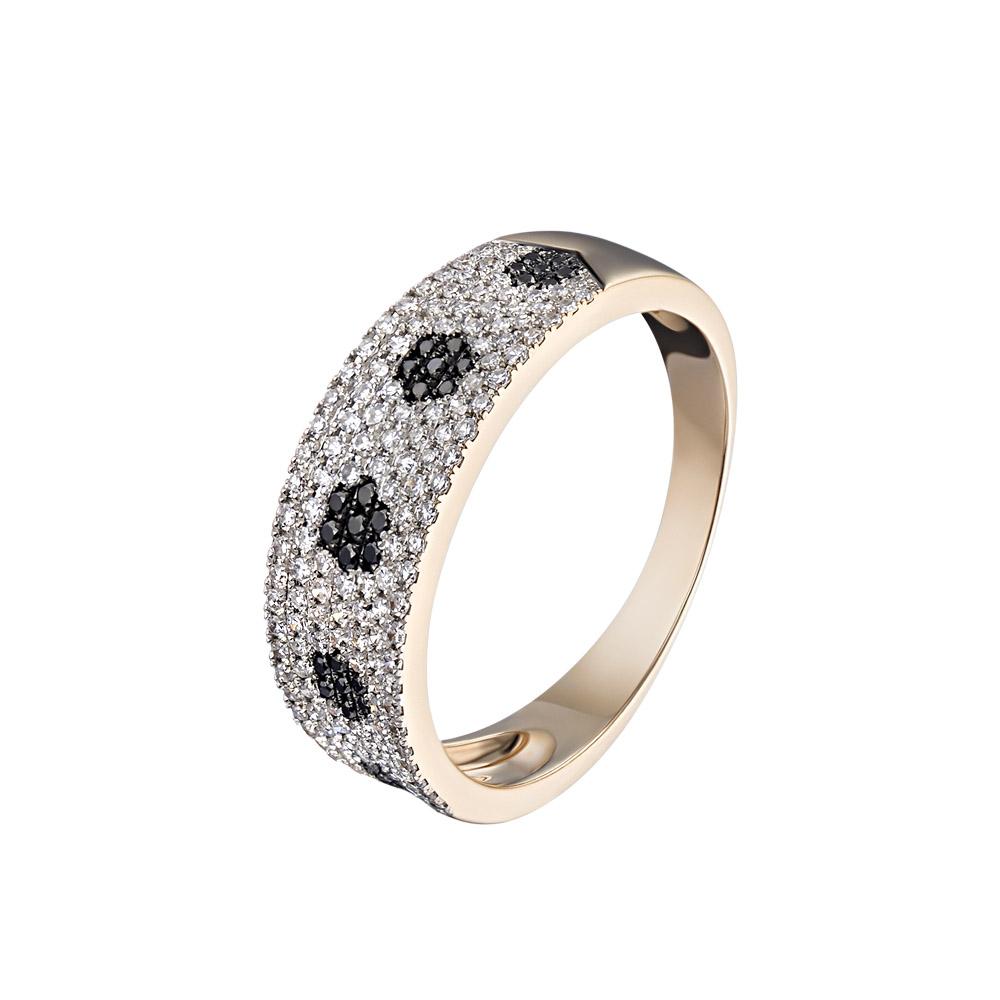 """Широкое кольцо """"Цветочная поняна"""" со 142 белыми и черными бриллиантами • Fidelis"""