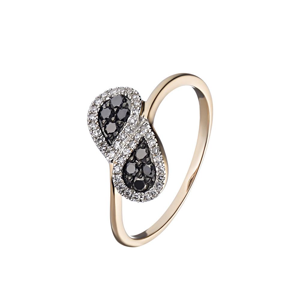 Бесподобное кольцо из розового золота с черными и белыми бриллиантами • Fidelis