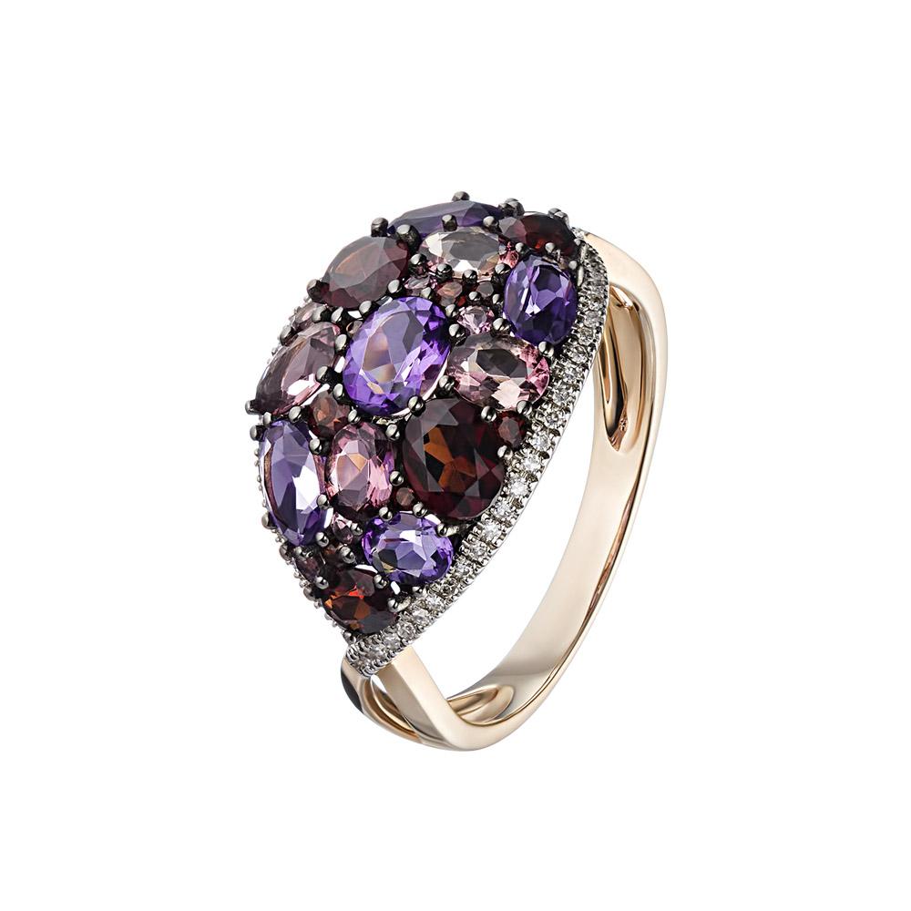 Роскошное золое кольцо с миксом камней и бриллиантами • Fidelis