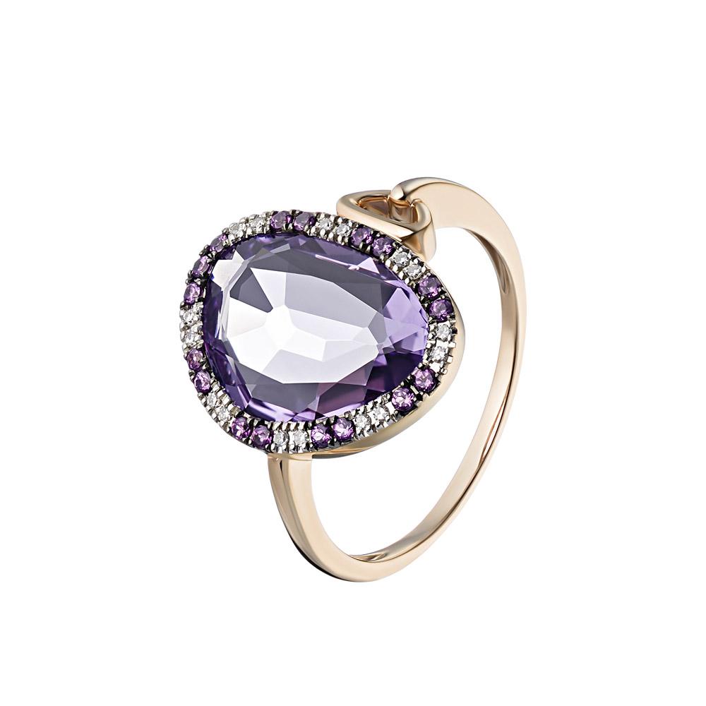 Золотое кольцо с аметистом, бриллиантами, родолитом • Fidelis