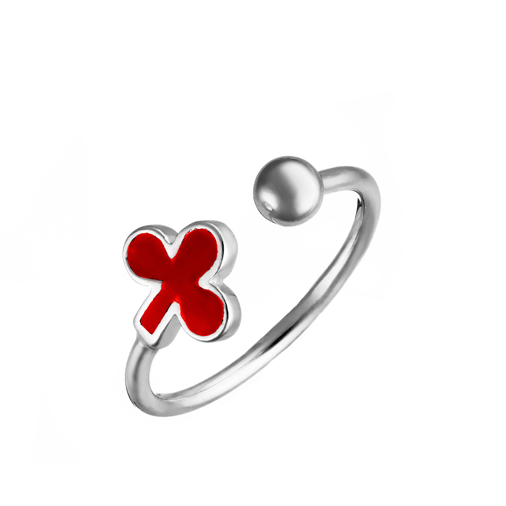 Серебряное фаланговое кольцо с цветочком из красной эмали • Fidelis