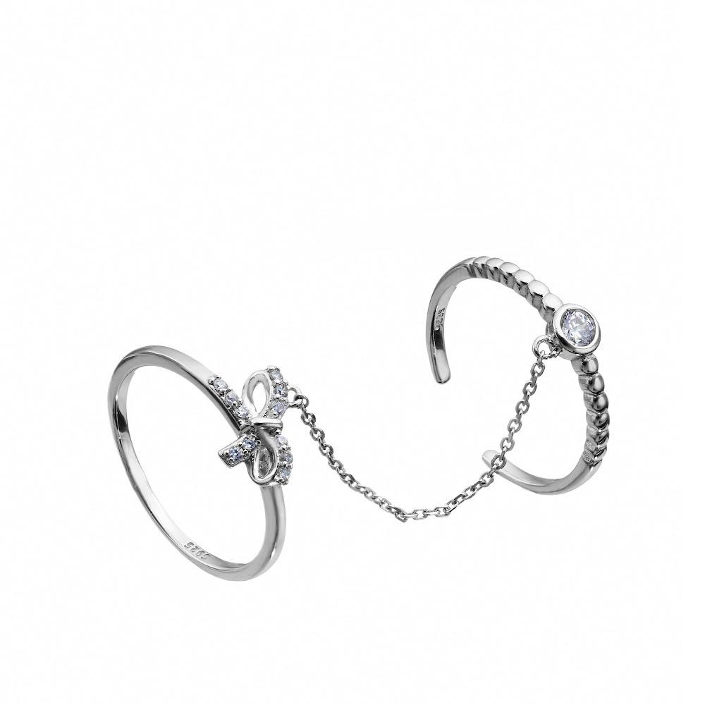 114f615e0d2c Два серебряных кольца на цепочке с фианитами за 1 314р. в ювелирном ...