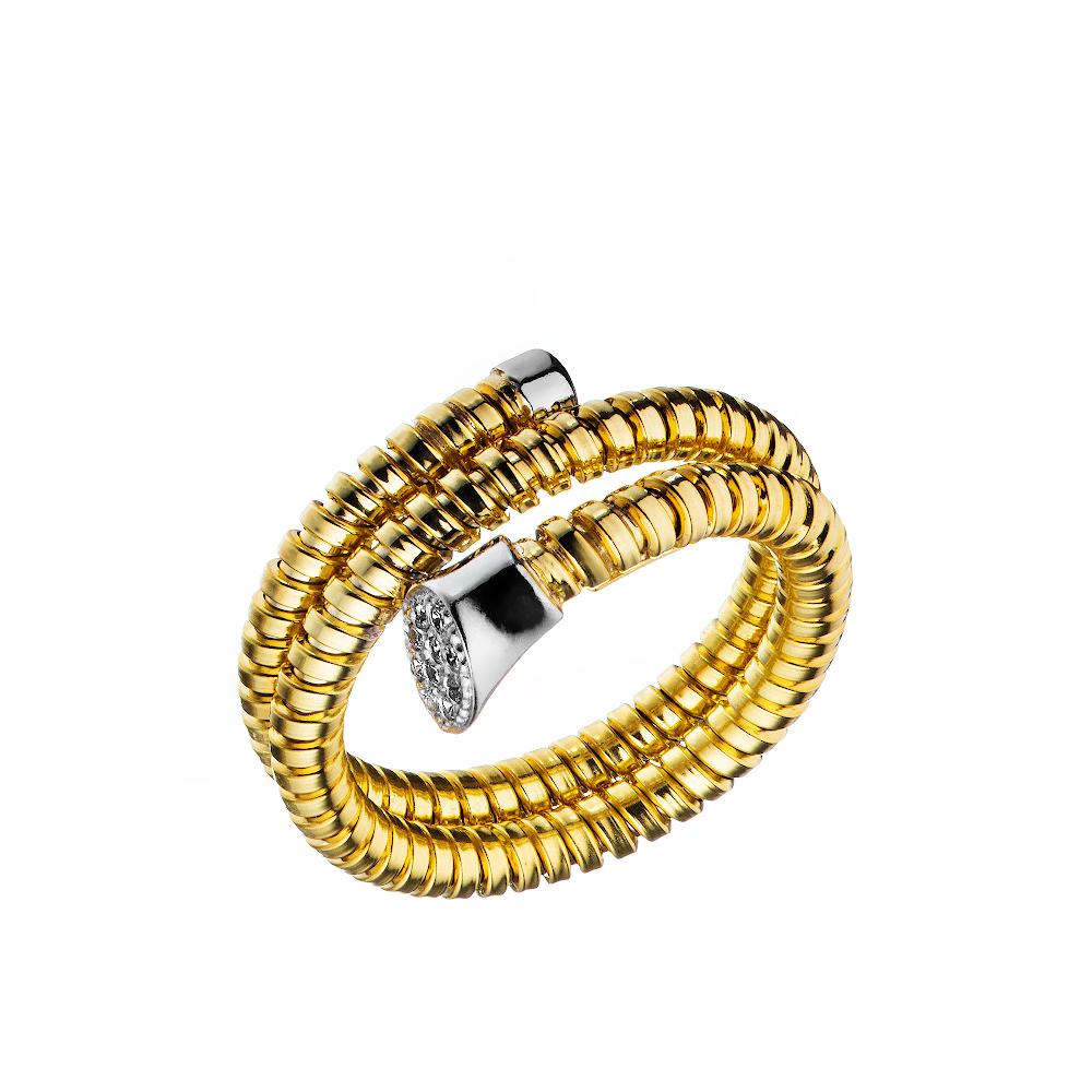 Кольцо из серебра в форме загнутого гвоздя с фианитами и желтой позолотой • Jessica jewels