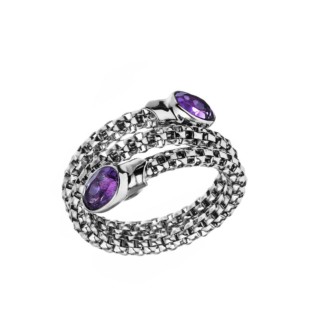 Оригинальное кольцо из серебра с аметистом • Jessica jewels
