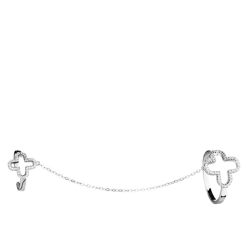 Серебряное кольцо на две фаланги с цепочкой • Fidelis