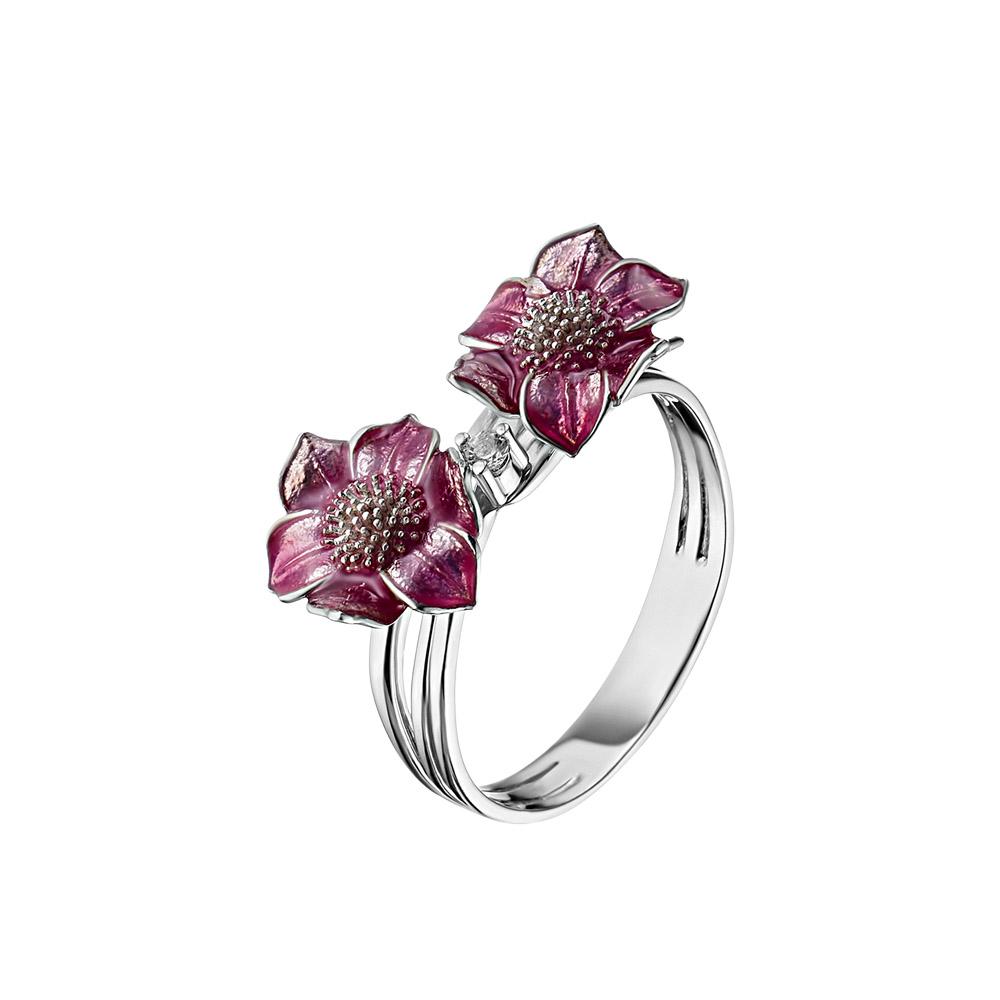 Серебряное кольцо в форме двух цветков от Roberto Bravo, с эмалью и сапфиром 0,03 ct • Roberto bravo