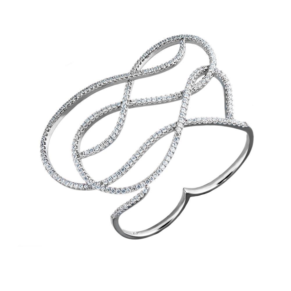 Витое серебряное кольцо- кастет на два пальца, украшено фианитами • Fidelis