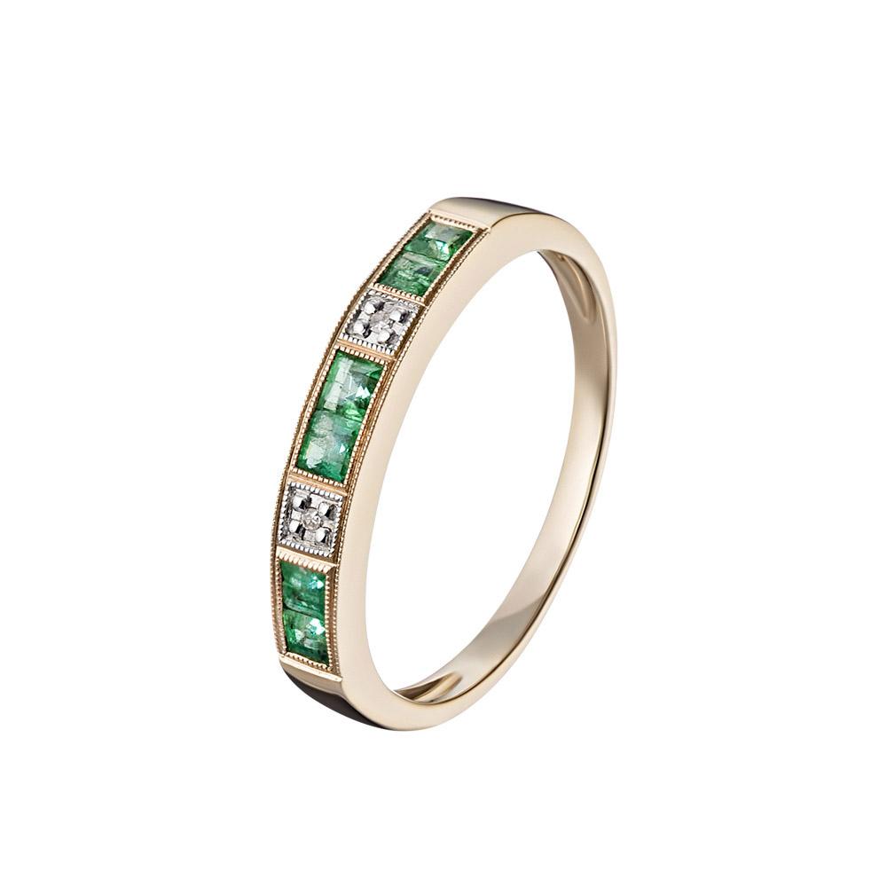 Кольцо золотое, в виде дорожки с переходом от белых к зеленым камням, вставки 2 бриллианта, 6 изумрудов • Fidelis