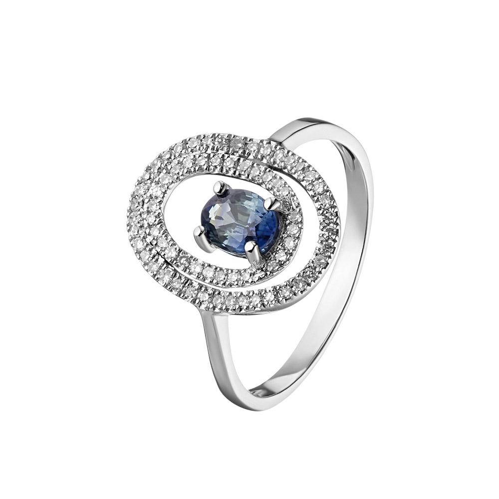 Кольцо из белого золота, в виде изогнутого овала, вставки: 67 бриллиантов, 1 сапфир • Fidelis