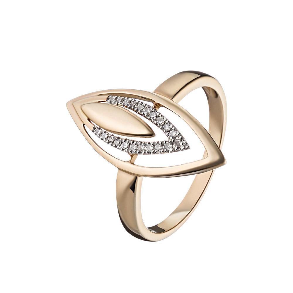 Кольцо из розового золота с 21 бриллиантом, выполнено в форме бутона • Fidelis