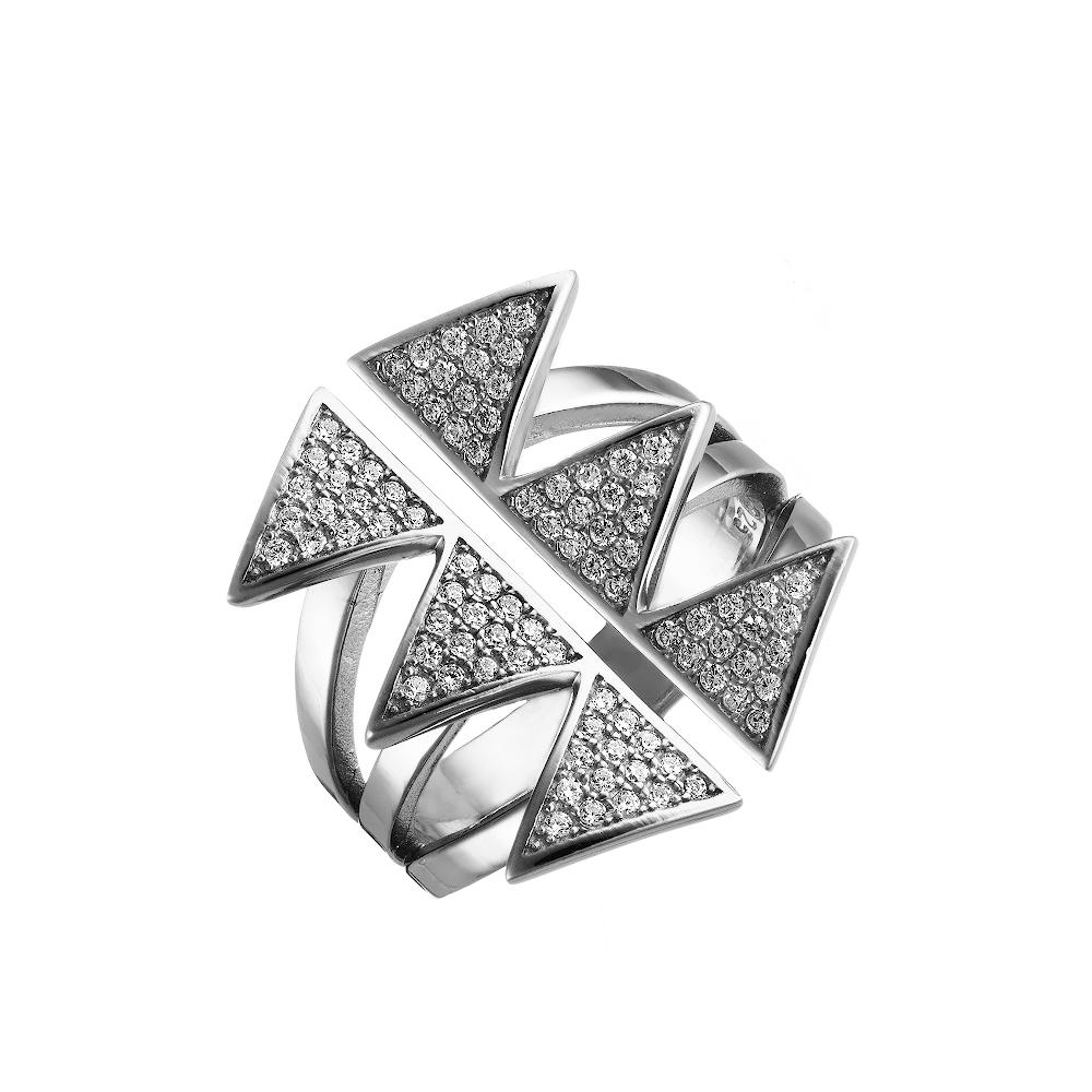 Широкое фаланговое кольцо в форме колючек, с фианитами • Fidelis