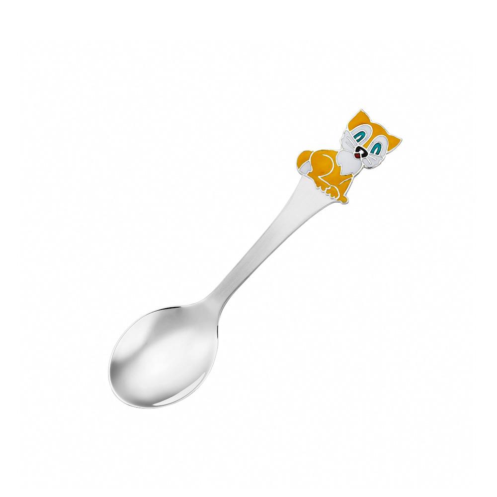 Детская серебряная ложка с эмалью «Кот» • Juveel